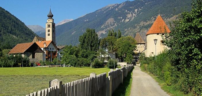 Blick auf Glurns im Vinschgau